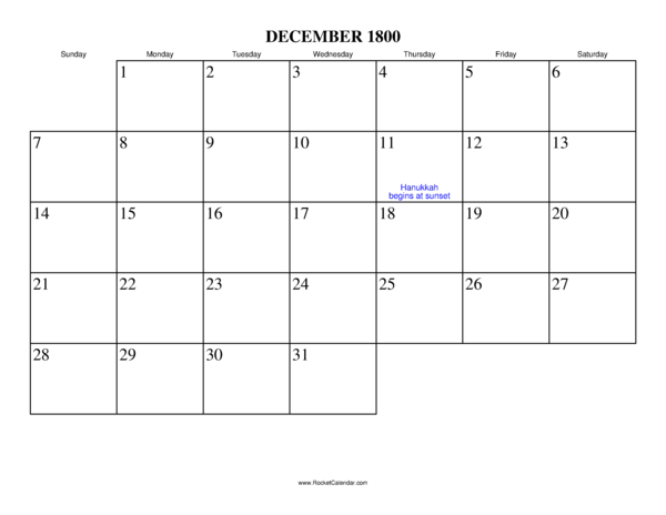 ... month: November 1800 | All 1800 Calendars | Calendars for other years