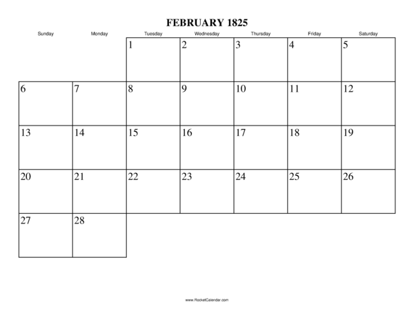 next month march 1825 previous month january 1825 all 1825 calendars ...