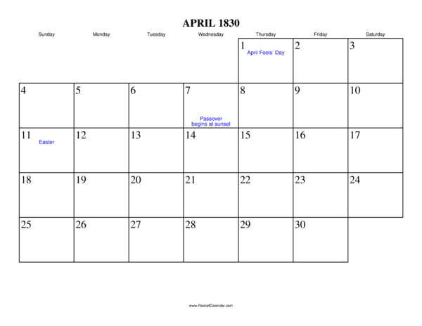 Next month: May 1830 | Previous month: March 1830 | All 1830 Calendars ...
