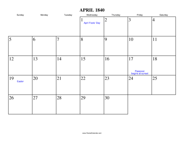 Next month: May 1840 | Previous month: March 1840 | All 1840 Calendars ...