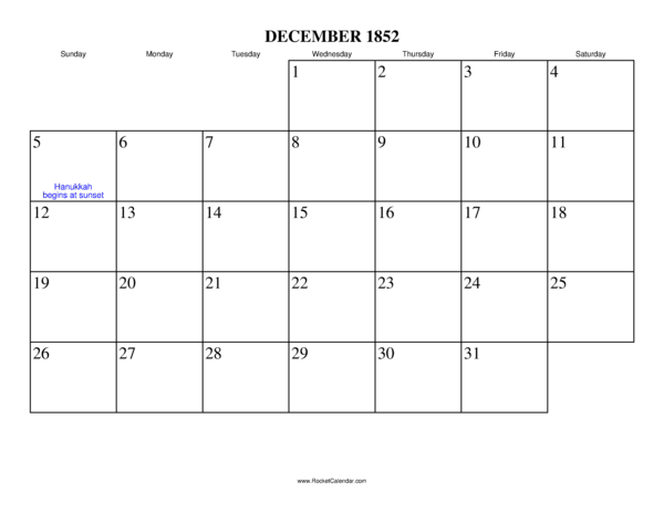 Next month: January 1853   Previous month: November 1852   All 1852 ...