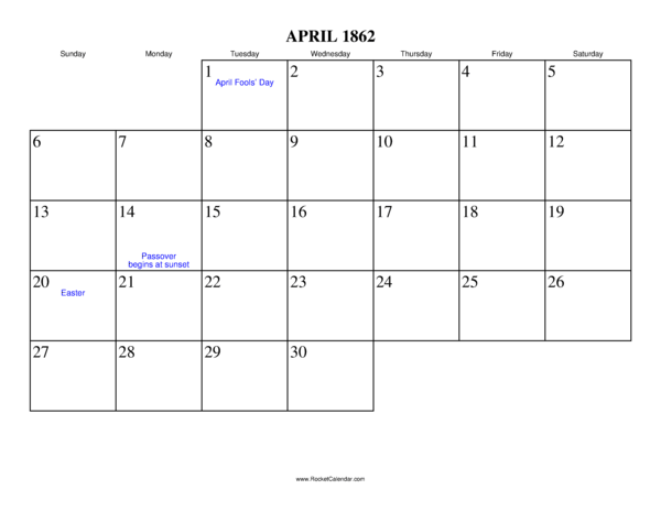 Next month: May 1862 | Previous month: March 1862 | All 1862 Calendars ...