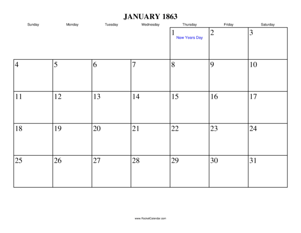 ... month: December 1862 | All 1863 Calendars | Calendars for other years