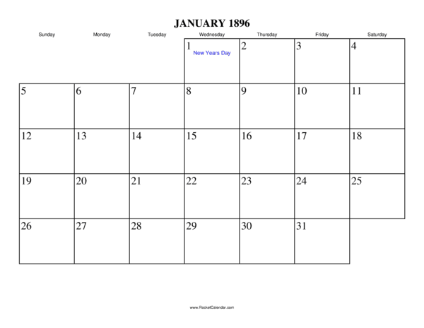 Next month: February 1896 | Previous month: December 1895 | All 1896 ...