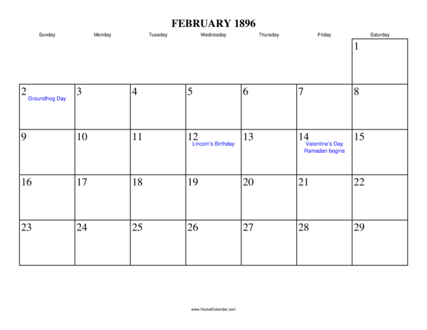 next month march 1896 previous month january 1896 all 1896 calendars ...