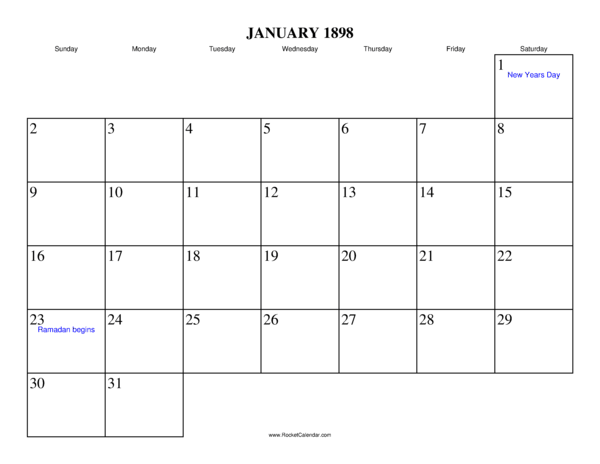 Next month: February 1898 | Previous month: December 1897 | All 1898 ...