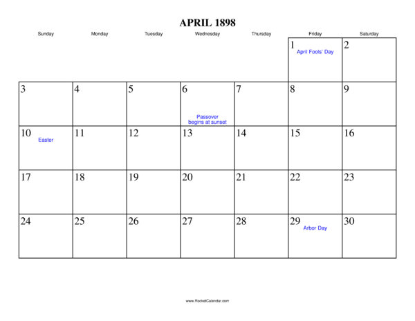 Next month: May 1898 | Previous month: March 1898 | All 1898 Calendars ...