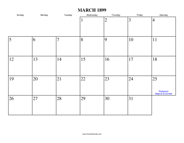 Next month: April 1899 | Previous month: February 1899 | All 1899 ...