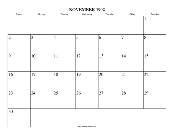 Next month: December 1902 | Previous month: October 1902 | All 1902 ...
