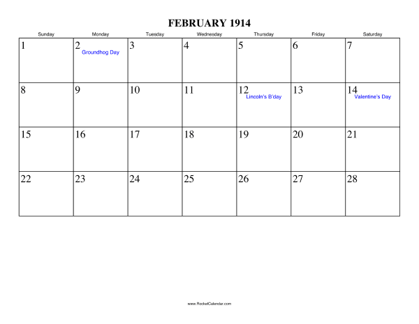 Holidays in February, 1914: