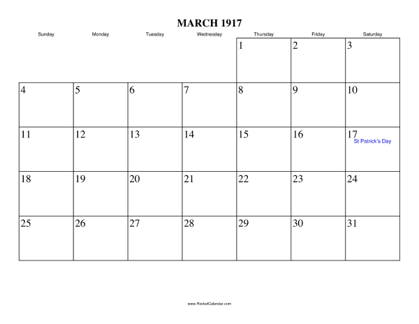 Holidays in March, 1917: