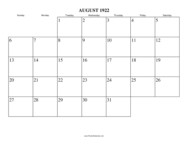 next month september 1922 previous month july 1922 all 1922 calendars ...
