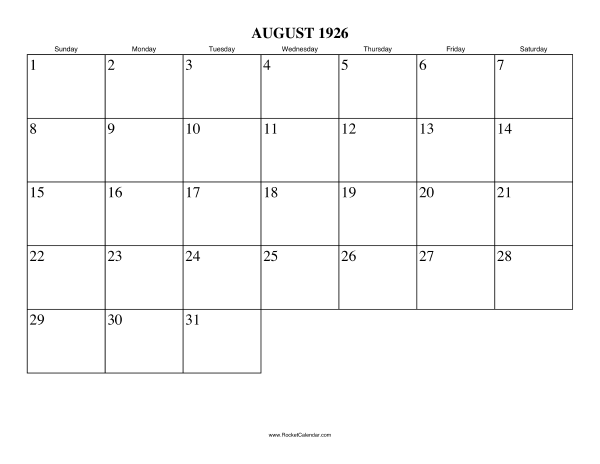 ... month: July 1926 | All 1926 Calendars | Calendars for other years