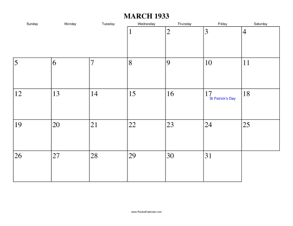 Holidays in March, 1933: