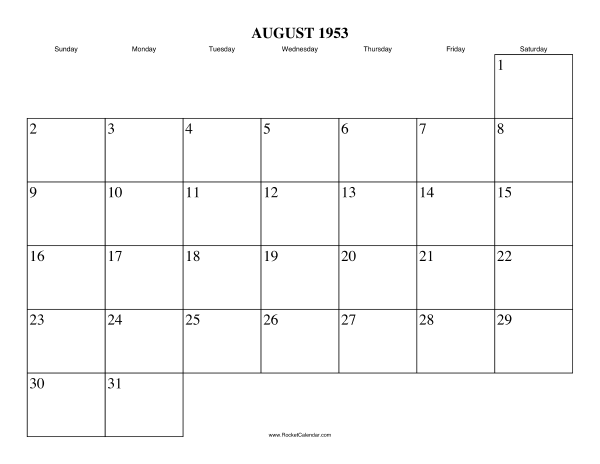 next month september 1953 previous month july 1953 all 1953 calendars ...