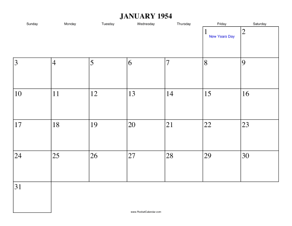 Holidays in January, 1954: