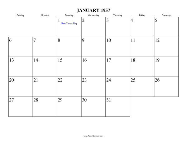 Holidays in January, 1957: