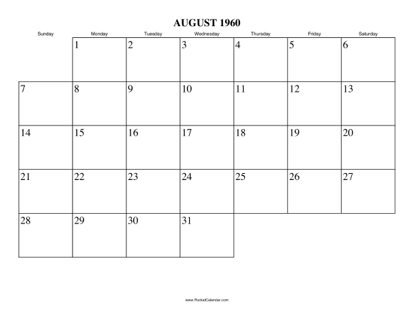 next month september 1960 previous month july 1960 all 1960 calendars ...