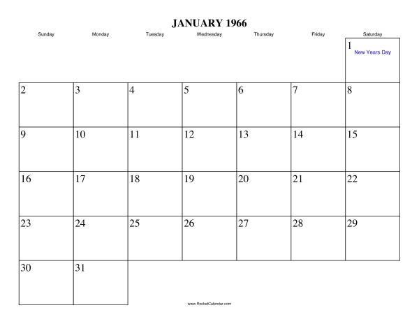Holidays in January, 1966: