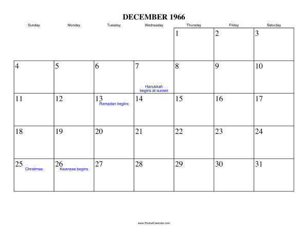 Holidays in December, 1966:
