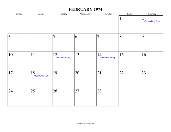 Holidays in February, 1974: February 2 1974: Groundhog Day