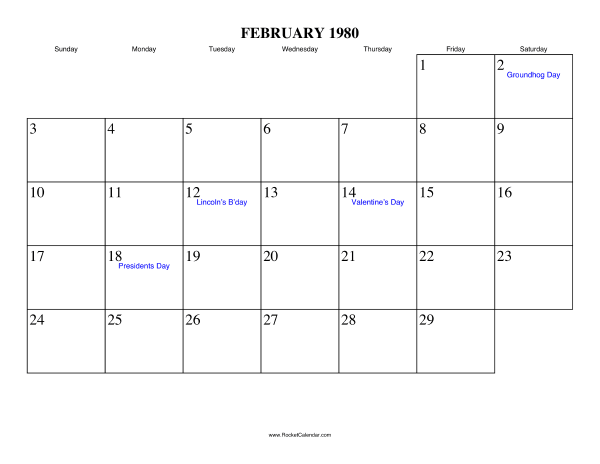 Holidays in February, 1980: