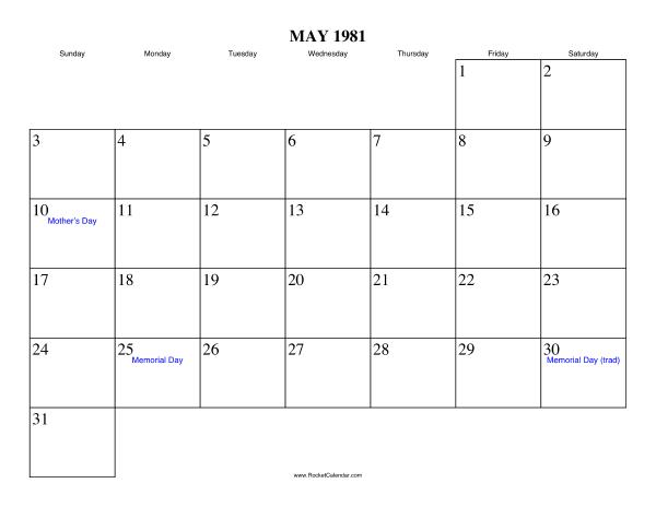 May 1981 Calendar