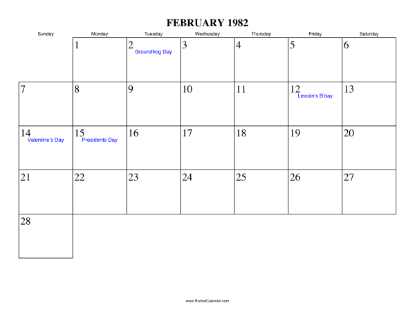Holidays in February, 1982: