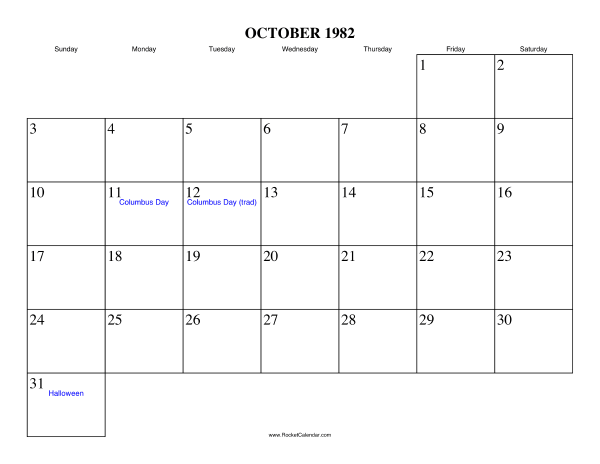 Holidays in October, 1982: