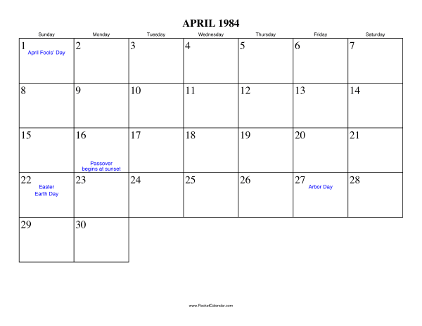 Holidays in April, 1984: