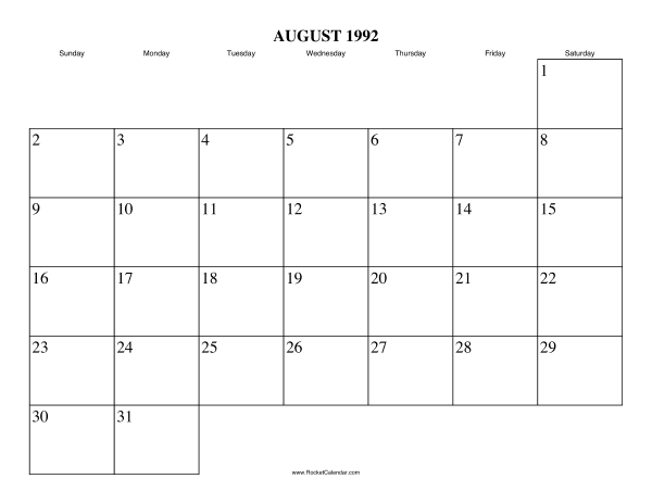 ... month: July 1992 | All 1992 Calendars | Calendars for other years
