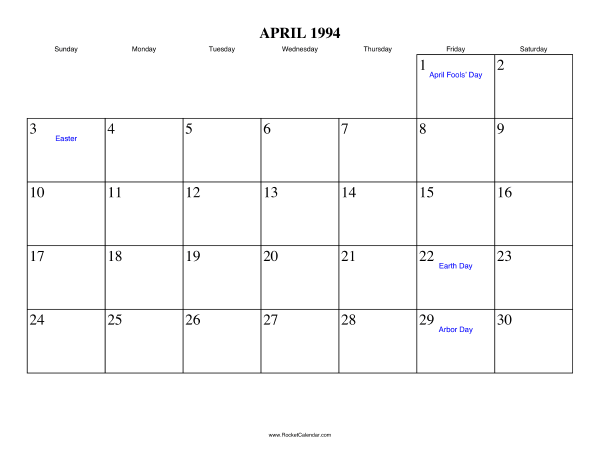 Holidays in April, 1994: