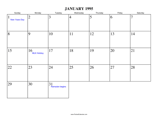 Holidays in January, 1995: