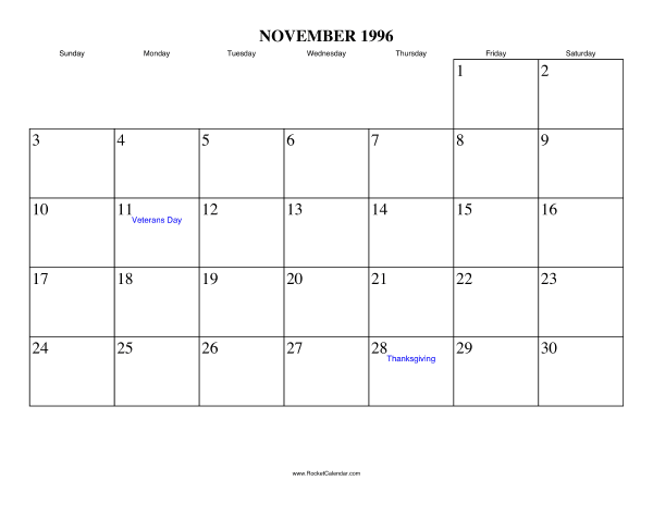 Holidays in November, 1996: