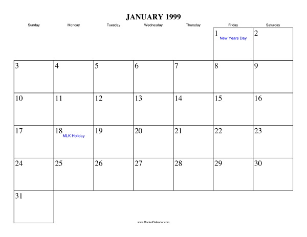 Holidays in January, 1999: