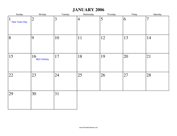 Holidays in January, 2006: