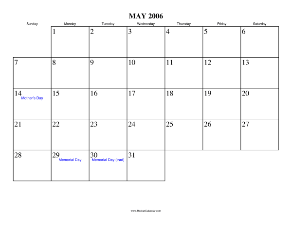 Calendar 2006 to print and download in PDF | abc-calendar.co.uk