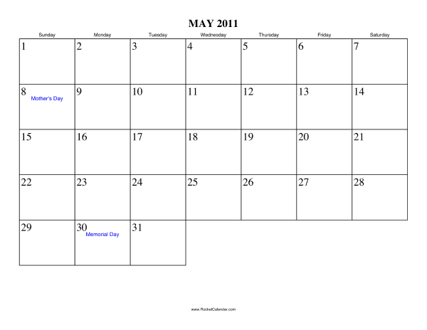 May 2011 Calendar. Holidays in May, 2011: May 8 2011: Mother's Day
