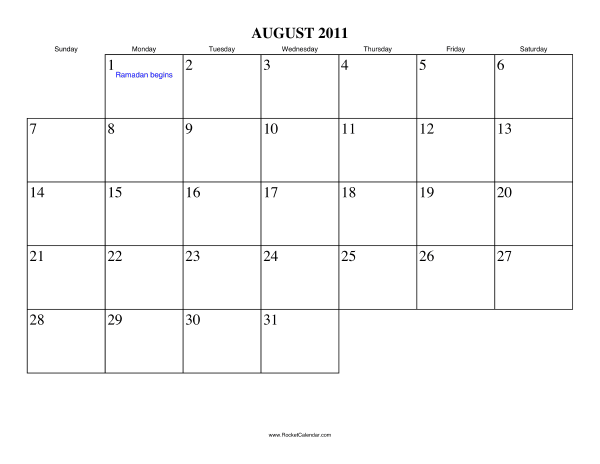 Free downloadable calendar august 2011.