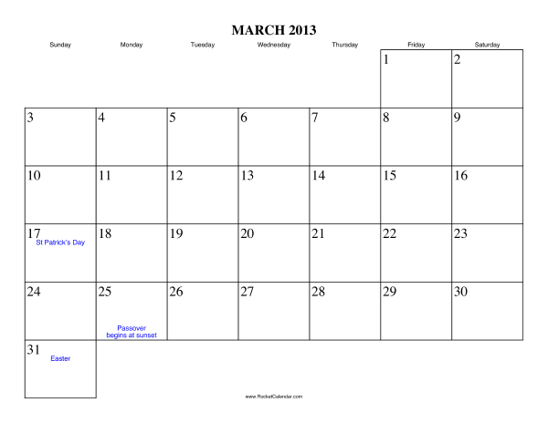 Holidays in March, 2013: