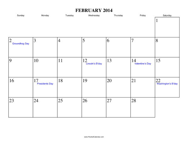 Holidays in February, 2014: