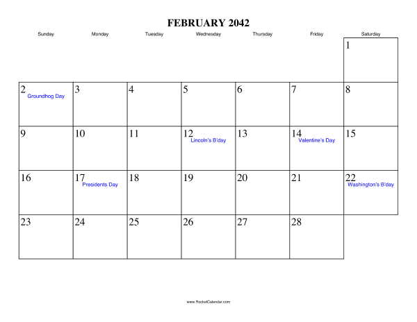 Holidays in February, 2042: February 2 2042: Groundhog Day