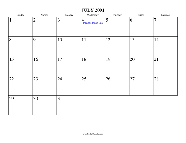 Holidays in July, 2091: